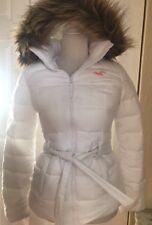 NEW HOLLISTER Women's Faux Fur Puffer Jacket Coat White sz XS