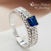 18K White Gold Plated Made With Swarovski Element Square Cut Sapphire Ring