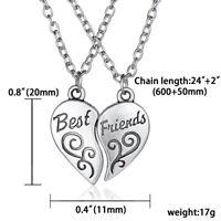 2/3PCS Broken Heart BFF Best Friends Yin Yang Pendant Necklace Chain Jewellery