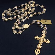 HANDMADE GOLD 8MM CRYSTAL BEADS ROSARY ITALY JESUS CROSS CATHOLIC NECKLACE GIFT