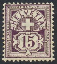 Switzerland Scott 76v, Schweiz Zu 64B, 15c violet Numeral type, F mint H