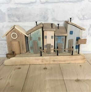Wooden Village Houses On A Block Indoor Home Ornament Bathroom Sea life Nautical