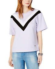 Tommy Hilfiger Womens Short-Sleeve Chevron-Stripe Top Medium Lavender