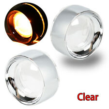 Chrome Aluminum Trim Ring&Clear Turn Signal Lens For Harley Dyna Touring FLHX