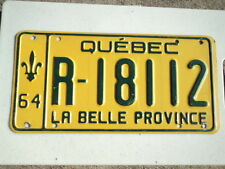 1964 QUEBEC CANADA La Belle Province License Plate R 18112 CAN Green and Yellow