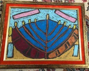 """Daniell Kline Artist  """"MENORAH"""" ORIGINAL Pastel  PAINTING FRAMED 1970 Abstract"""