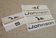 Johnson Vintage Outboard Motor 5 HP Decal Kit FREE SHIP + FREE Fish Decal!
