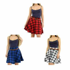 Womens Tartan Check Print Elasticated Belted Waist Flared Mini Skater Skirt 8-22