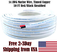14 AWG Gauge Red Black Tinned Copper Outdoor Trailer Marine Wire Boat Cable 50FT