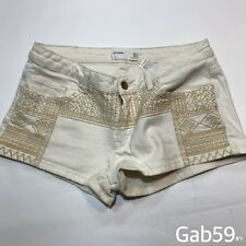 Womens Zara TRF Beige Denim Mini Shorts Tribal Pattern Size EU 40 W 32-33