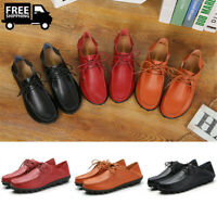 Women's Comfort Leather Flats Loafers Ladies Casual Moccasin Lace Up Pumps Shoes