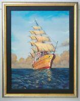 Framed Original Canvas Painting Ship Ocean Maritime Signed