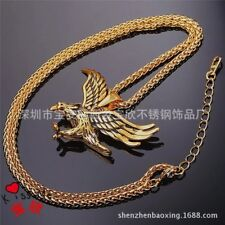 """Men's 18K Gold Plated Stainless Steel Eagle Pendant Necklace Box Chain 3MM 24"""""""