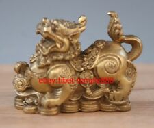 9 CM Chinese Brass Copper Foo Dog Lion Kylin kirin Wealth Fengshui Animal Statue