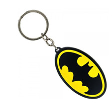 RETRO DC Comics Batman Logo Keychain (Metal) Black/Yellow - Officially Licensed