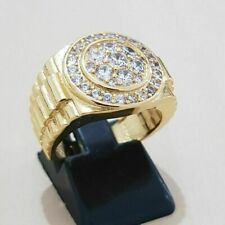Solid 10K Yellow Real Gold Men's Wedding Pinky Band Ring Round 1.60 CT Diamond