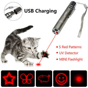 Pet Cat Kitten Toy Laser Pointer USB Charging LED Light Pen Torch Multi-pattern