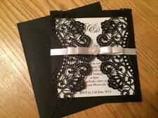 NUOVO Personalizzata / Handmade Nero Lusso LASER CUT Wedding Invitation