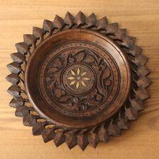 More details for vintage indian hand carved hardwood plat/ebowl table top