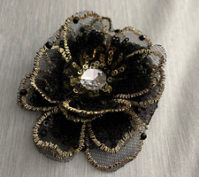 New listing 8cm Gold Silver Sequin Embroidered Flower Sew Patch Appliques Diy Red Blue Black