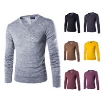 Men's Casual Knit Shirt V-neck Sweater Long Sleeve T-Shirt Sweatshirt Tops d13