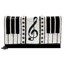 MARY FRANCES Keyed Up Piano Black White Notes Onyx Handbag Clutch Bag NEW