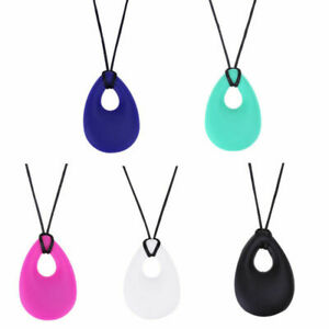 Silicone Baby Teether Drop Ring Teething Toddler Kids chew Necklace Molars