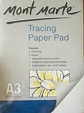 40 Sheets Mont Marte Tracing Paper Pad A3 Artist Sketching Overlay Crafts Arts