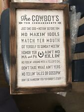New The Cowboy's Ten Commandments Plaque Western Decor  Home and Wall Decor