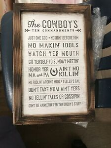 New The Cowboy's Ten Commandments Plaque Western Decor  Home and Wall Decor