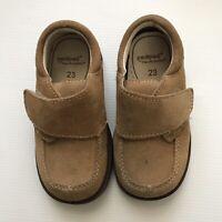 Pedipedi Size 5.5 Tan Suede Shoes Loafers Toddler Baby Boy EUC Flex Sole