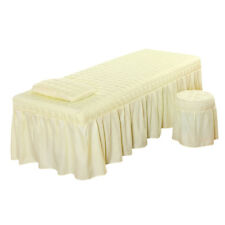 "Massage Table Skirt Sheet Pillowcase Stool Cover Beauty Linen 73x28"" Beige"