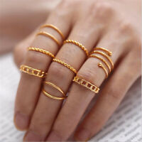 Retro 8Pcs/ Set Charm Silver Gold Boho Fashion Simple Midi Finger Knuckle Rings