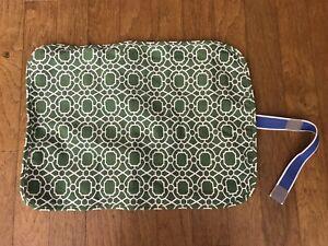 "Pottery Barn Kids Baby Changing Pad Portable Roll Up Matt 20"" x 15"" Green White"
