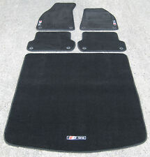 Black SUPER VELOUR Car Mats - Audi A4 B6/B7 (2001-08) + BOOT MAT + S-Line Logos