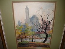 Listed Sally Lustig American Romanian New York Central Park watercolor painting