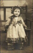 Little Girl Looks Like Doll Close-Up Stunning +++Photography c1910 Photo RPPC