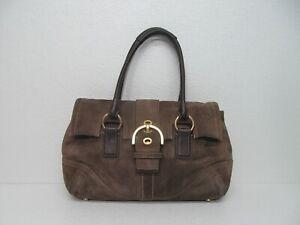 Coach 8A24 Hampton Olive Green Suede Brown Leather Satchel Handbag Purse