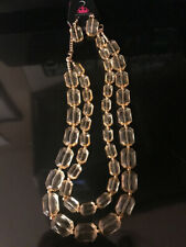 Paparazzi ICE BANK Acrylic Necklace GEOMETRIC RECTANGLES YELLOW GOLD-New