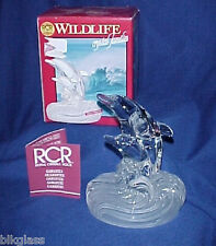 Dolphins Frolic In Sea Wave Rcr Crystal Glass Wildlife Figurine Mother Father