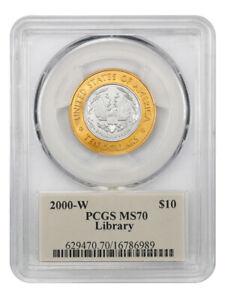 2000-W Library of Congress $10 PCGS MS70 (Bimetallic) Thomas Cleveland Autograph