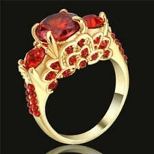 Vintage Round Cut Red Ruby Wedding Ring 18K yellow Gold Filled Band Size 7