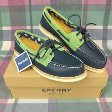 Sperry Top Sider Women's Leather Blue & Green Comfort Non Slip Boat Shoes Size 8