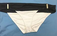 Victoria's Secret Forever Hipster White Black Colorblock Bikini Bottom Large L