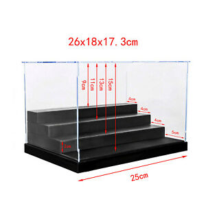 """Clear Acrylic Display Case Plastic Tray 4Steps Box 9.8""""L Dustproof Protection 01"""