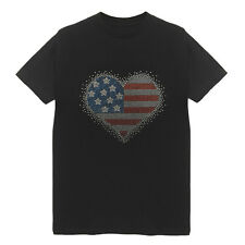 USA Flag Heart Women's Crew Neck T-Shirts Plus Size Handmade Cotton Patriot
