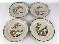 4 Vintage Hearthside Baroque AUTUMN FAIR Stoneware Floral LUNCH Plates 7.5''