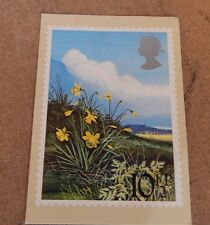Royal mail british flowers postcard posted fist day edition 21 Mar 1979 ao1