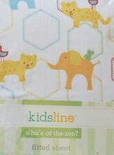 New Kidsline Who'S At The Zoo Fitted Crib Sheet