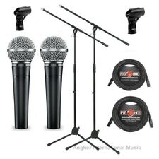 2 x Shure SM58-LC Vocal Microphones Bundle with 2 x Mic Boom Stand + XLR Cables